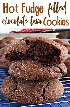 These soft and tender chocolate cookies have a surprise of gooey hot fudge waiting on the inside. If you like lava cake, you'll love Hot Fudge Filled Chocolate Lava Cookies. They just might be my new favorite cookies! recipe at TidyMom.net