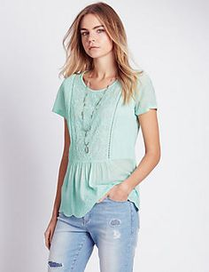 Round Neck Embroidered Pintuck Top
