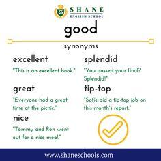 How do you say 'good'? #ShaneEnglishSchool #ShaneEnglish #ShaneSchools #English #Englishclass #Englishlesson #Englishfun #Englishisfun #language #languagelearning #education #educational #word #words #wordoftheday #vocabulary #vocab #synonym #differentwords