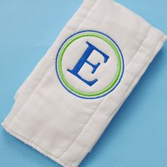 love., monogrammed burp cloths