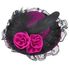 Woman Black Lace Fuchsia Flowers Bowknot Mini Hat Alligator Hair Clip ** See this great product.