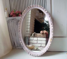 Pink Oval Ornate Mirror Vintage Oval Mirror by WillowsEndCottage
