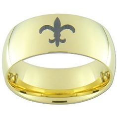 New Orleans Saints Football Gold Tungsten Ring with Black Laser Fleur de Lis.