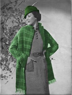 1930s plaid coat and knit pattern