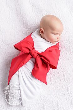 Bow Swaddle ® - Richmond Red - The Beaufort Bonnet Company