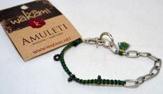 Wakami Fair Trade Amuleti Wisdom Macrame and Chain Bracelet