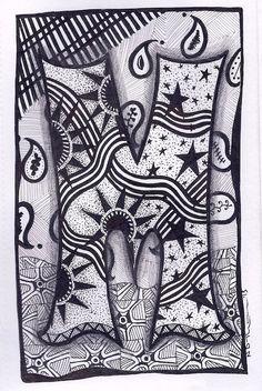 Zentangle Letter M Zebra Letters name bunting door ForeverTangles, £3.25