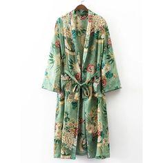 Calico Print Contrast Piping Self Tie Longline Kimono (€32) ❤ liked on Polyvore featuring intimates, robes, patterned robes, longline kimono, kimono robe, print kimono and long sleeve kimono