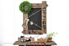 Reclaimed wood farmhouse Office sign chalkboard with twine