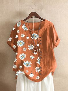 Bird Prints, Flower Prints, Orange Fashion, T Shirts For Women, Clothes For Women, Summer Tops, Tshirts Online, Floral Tops, Daisy