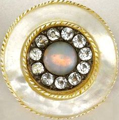 18th C. MOP button with clear paste stones and opalescent cabochon.