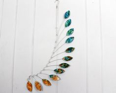 Leaf Mobile in Blues and Oranges  Kinetic by SkysetterArtMobiles, $69.00