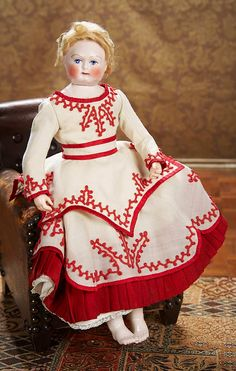 French Porcelain Poupee by Leontine Rohmer with Swivel Head and Porcelain Bare Feet. Circa 1860. http://Theriaults.com