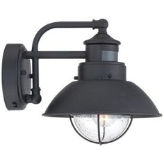 Secure home nautical 94 in h matte black motion activated outdoor fallbrook 9h black dusk to dawn motion sensor outdoor light aloadofball Image collections