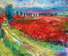 Impressionistic European Landscape with Poppy flowers fields painting by Svetlana Novikova, www.SvetlanaNovikova.com