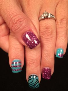 Purple and turquoise gel nails