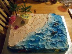 "Beach Birthday Cake...I like the writing in the ""sand"""