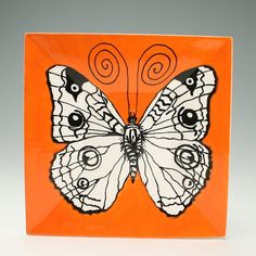 "Buckeye Butterfly Orange Square 9"" Plate Dinnerware Tableware Black and White"