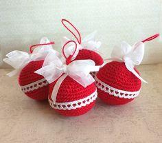 Pack 4 bolas Navidad Rojas de Rosebud por DaWanda.com