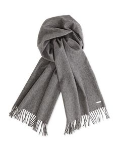 $425, Loro Piana Cashmere Grande Unita Scarf Gray. Sold by Neiman Marcus. Click for more info: https://lookastic.com/men/shop_items/162593/redirect