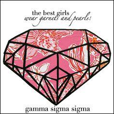change garnets and pearls to diamonds! and gamma sigma sigma to ADPi Gamma Sigma Sigma, Delta Phi Epsilon, Alpha Sigma Alpha, Sorority Outfits, Sorority Gifts, College Sorority, Sorority Sugar, Love My Sister, Greek Shirts