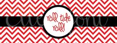 "University of Alabama Chevron ""Roll Tide Roll"" Cover Photo for Facebook. Available from Elle-O-Font. Will do other sports teams if requested! #ROLLTIDE"