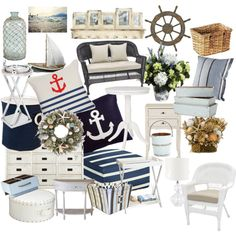 """""""Námořnický styl bydlení ( Nautical style home)"""" by nicolesynth on Polyvore Nautical Fashion, Nautical Style, Baby Room, Beach House, Armchair, Throw Pillows, Bed, Furniture, Design"""