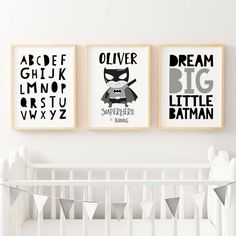 Set of 3 Boys Monochrome Superhero Nursery Prints. Shop for Personalised boys Nursery