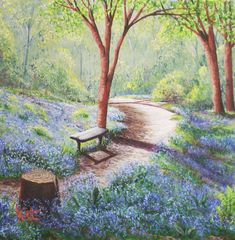 Bluebells – SOLD Savill Garden, Artwork Display, Acrylic Art, My Works, Perfect Place, Still Life, Kit, Gallery, Frame