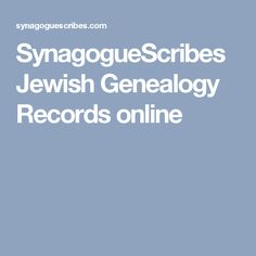 SynagogueScribes Jewish Genealogy Records online