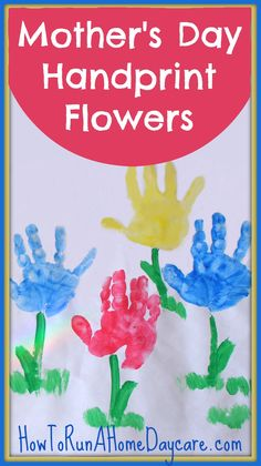 Mother's day handprint card and craft idea for young children.  Do you have a child who doesn't like to get their hands covered in paint? Great suggestion to get all your toddlers to happily make handprints for their mothers.