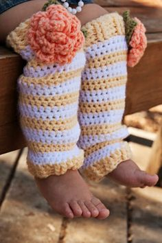 Girls Crochet Legwarmers in yellow and white stripes by Oliviella, $25.00