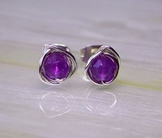 Amethyst Stud Earrings Amethyst Post by deezignstudio on Etsy, £9.50 (like this setting, too)