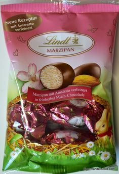 """Decorate your colorful Easter basket with the delicious """"Lindt Marzipan Eier - Marzipan Amaretto Eggs"""". With these delicate and fine creations from the Lindt Maîtres Chocolatiers, the Easter basket becomes a special treat.Store..."""