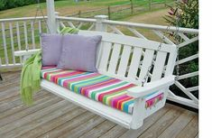 Porch swing after getting a paint makeover and new no sew cushion that can be made in minute Porch Swing Cushions, Bench Cushions, Outdoor Cushions, Porch Swings, Foam Cushions, No Sew Slipcover, Slipcovers, Chair Cushion Covers, Diy Cushion