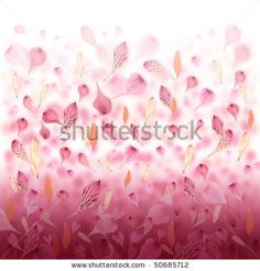 Pink and red flower petals are falling creating a love valentine background. by Angela Waye