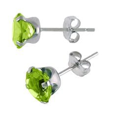 14k White Gold 6mm Round Peridot Stud Earrings (1.60 ct) ** Be sure to check out this awesome product. (This is an affiliate link) #WomensJewelry