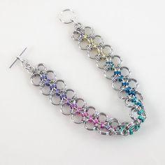 Bracelet cotte de mailles pastel, Multi couleur Bracelet Bijoux, Chainmail japonais, été