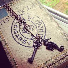 Mystery Seahorse Skeleton key Utility pin Necklace