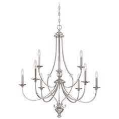 Minka Lavery Savannah Row Brushed Nickel Traditional Clear Glass Chandelier at Lowe's. The Savannah Row chandelier in brushed nickel by Minka Lavery provides abundant light to your home, while adding style and interest. With classic Chandelier, Minka Lavery, Minka, Brushed Nickel Chandelier, Candle Styling, Traditional Chandelier, Chandelier Lighting, Kitchen Chandelier, Room Lights