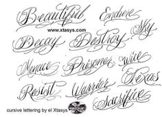 Cursive Letters For Tattoos Fonts
