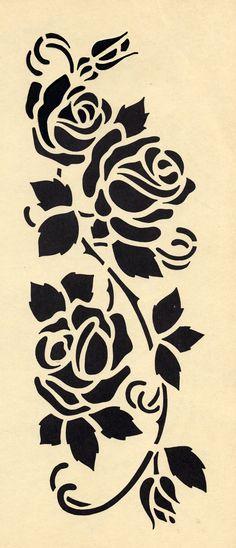 Galerie des pochoirs fleurs - Loisirs Creatifs de F1ADC Stencils, Stencil Templates, Stencil Patterns, Stencil Diy, Stencil Painting, Stencil Designs, Fabric Painting, Rose Stencil, Flash Art
