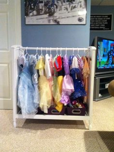 Repurposed changing table to dress up station! Repurposed Furniture, Vintage Furniture, Diy Furniture, Dress Up Stations, Dress Up Storage, E Room, Getting Organized, Girl Room, Diy For Kids