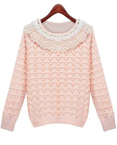 Shop Pink Long Sleeve Lace Striped Loose Sweater online. Sheinside offers Pink Long Sleeve Lace Striped Loose Sweater & more to fit your fashionable needs. Free Shipping Worldwide!