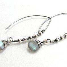 Sterling Silver Wire Wrapped Labradorite Briolette Gemstone Dangle Earrings