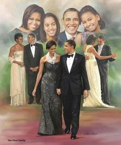 President Barak Obama With 1st Lady Michelle Obama With Daughters Malia Obama & Sasha Obama.... by DeeDeeBean
