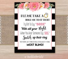 Don't Say Bride Black and White Pink Floral Bridal Shower Games - Please Take A Ring -  Bachelorette Games - Hen Party Games 019