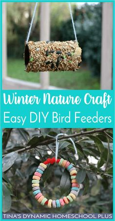 Nature Craft: How to Make Easy DIY Bird Feeders. Making easy DIY Bird Feeders is a fun winter nature craft to do with the kids. Add this easy hands-on nature craft to your homeschool unit study. Crafts For Teens, Crafts To Do, Easy Crafts, Easy Diy, Arts And Crafts, Bird Feeder Craft, Bird Feeders, Diy And Crafts Sewing, Winter Fun