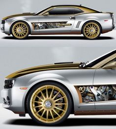 """The retro-futuristic Chevy Camaro, aka the """"Steampunk Kamaro"""", is a graphic rendering by artist John """"Jazz"""" Vernon. I would not mind rebuilding a Camaro this way at all. Audi, Porsche, Bugatti, Dodge, Jaguar, Cadillac, Mustang, Car Mods, Automobile Industry"""