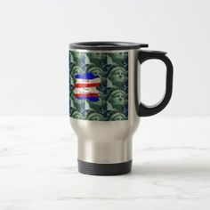 #USA Flag Colors With Statue Of Liberty Travel Mug - #country gifts style diy gift ideas